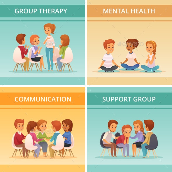 Cartoon Group Therapy Icon Set - Business Conceptual