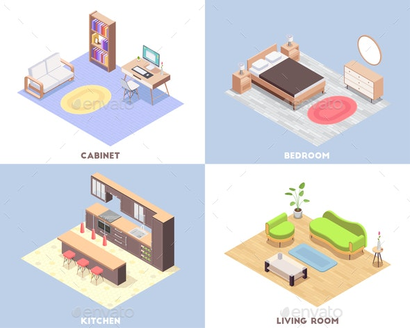 Interior Furniture Isometric Concept Set - Industries Business