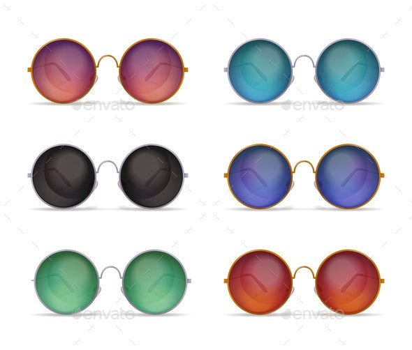 Circle Shaped Sunglasses Set - Sports/Activity Conceptual