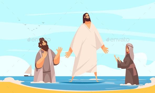 Jesus Water Walking Composition - Religion Conceptual