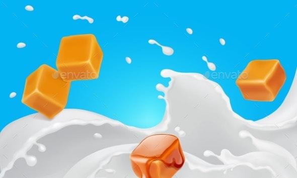 Caramel Pieces in Milk Splash Realistic Vector - Food Objects