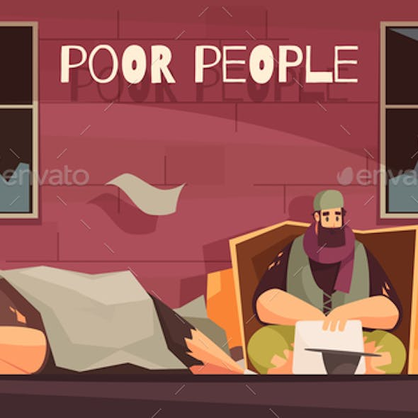 Poor Homeless People Banner