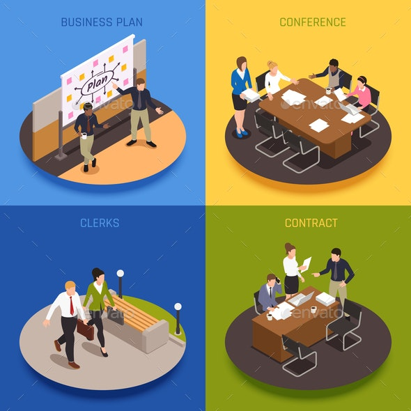 Business People  Concept Icons Set - Concepts Business