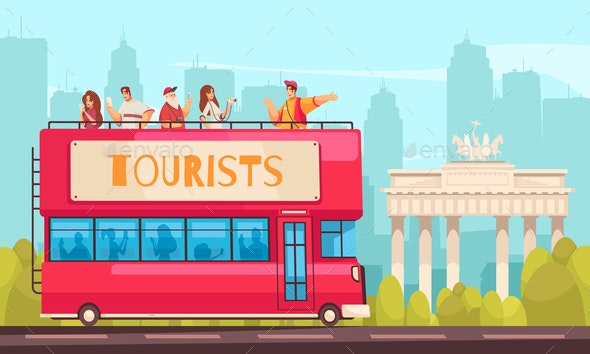 Sightseeing Bus Excursion Composition - Travel Conceptual