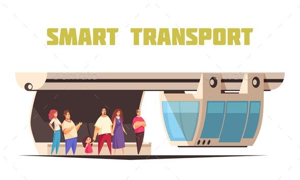 Smart Transport Cartoon Composition - Miscellaneous Vectors