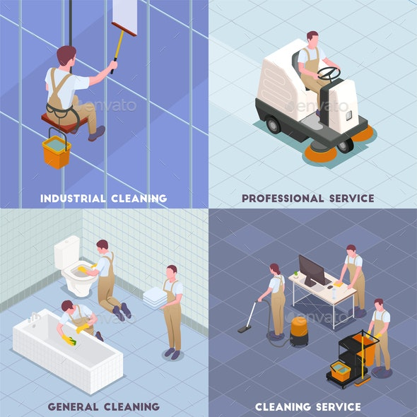 Cleaning Isometric Icon Set - Services Commercial / Shopping