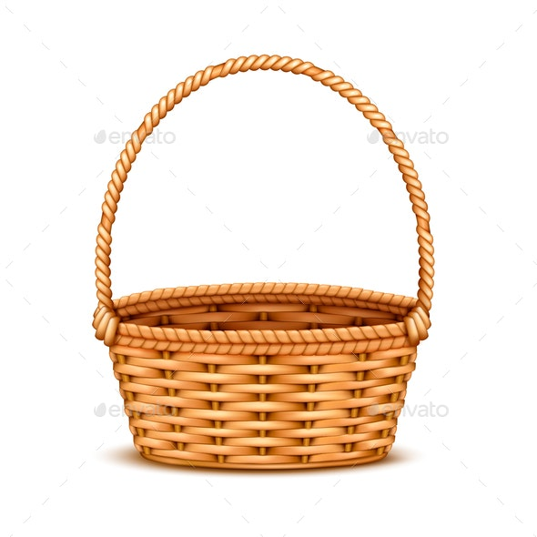 Wicker Basket Realistic Isolated - Man-made Objects Objects