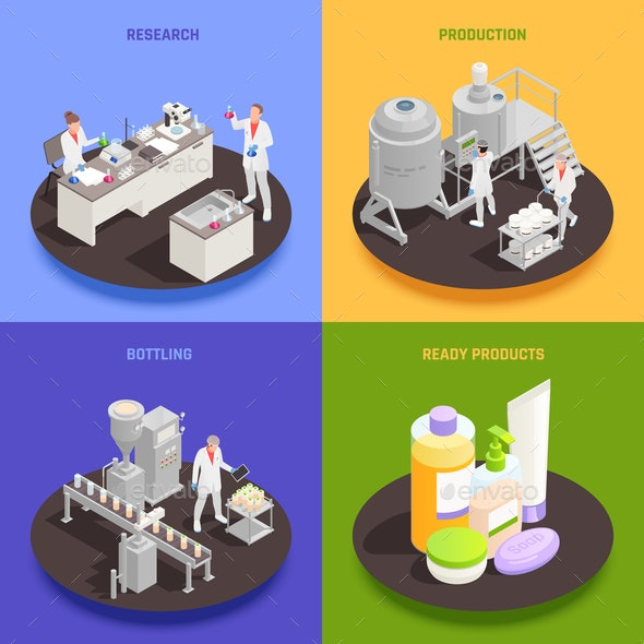 Cosmetics Production 2x2 Design Concept - Miscellaneous Vectors