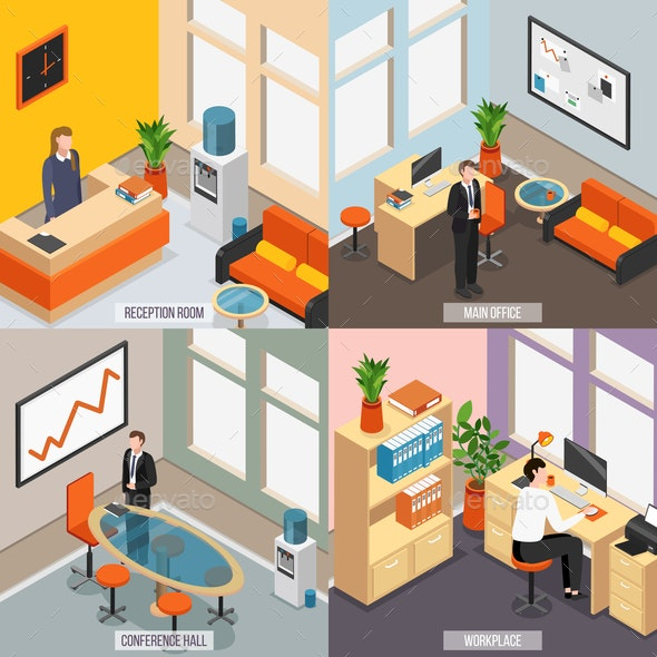 Isometric Office Icon Set - Computers Technology