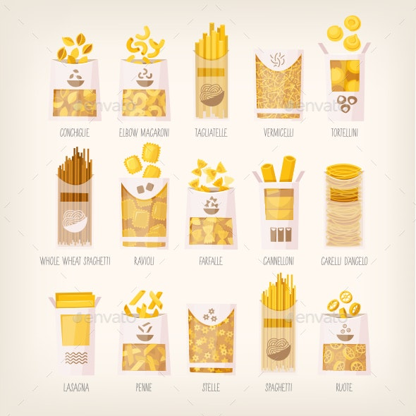 Different Kinds of Pasta - Food Objects