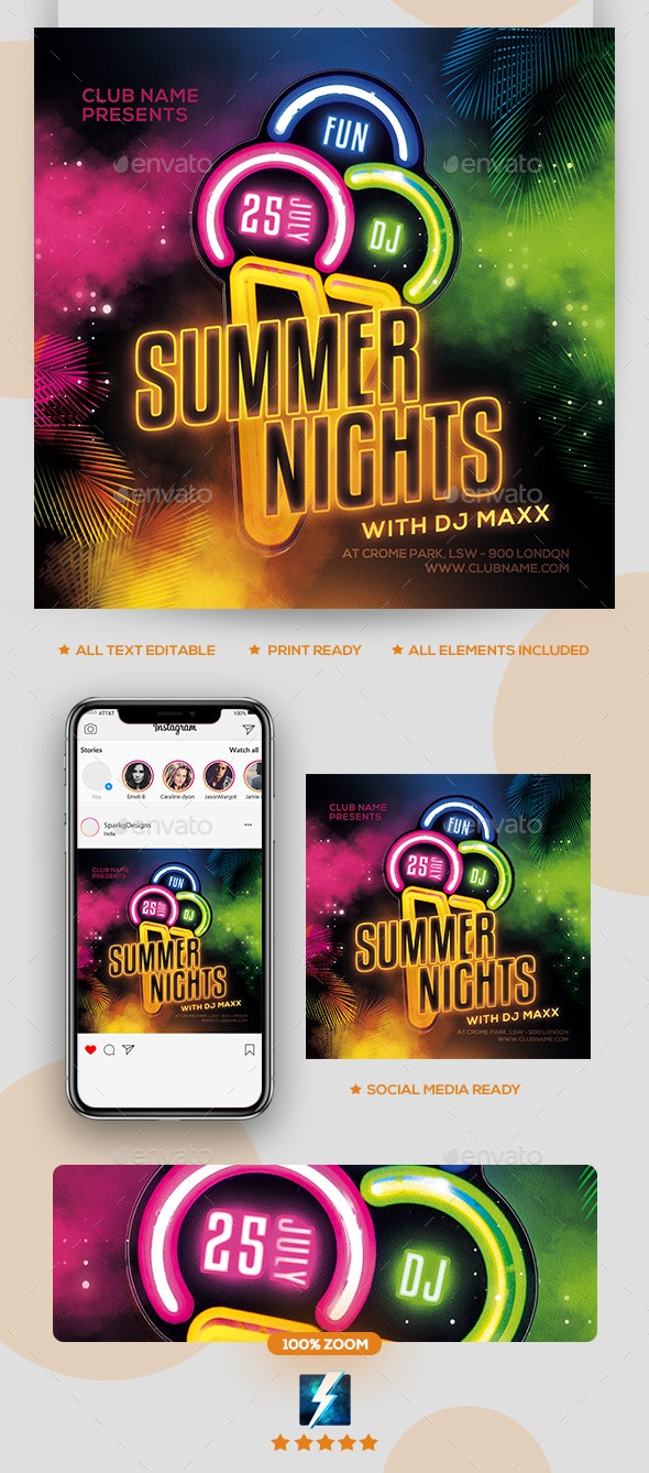 Summer Night Party Flyer - Clubs & Parties Events