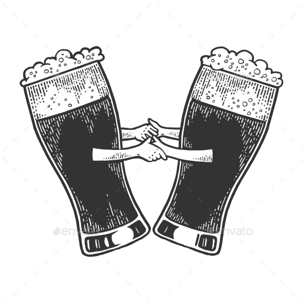 Beer Mug Dance Sketch Engraving Vector - Miscellaneous Vectors