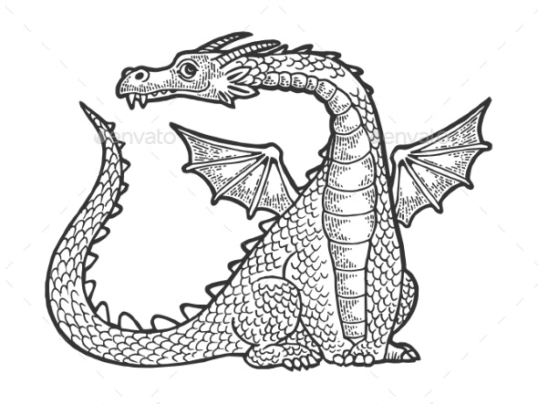 Dragon Fabulous Animal Engraving Vector - Monsters Characters