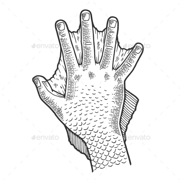 Hand Amphibian Man Sketch Engraving Vector - People Characters