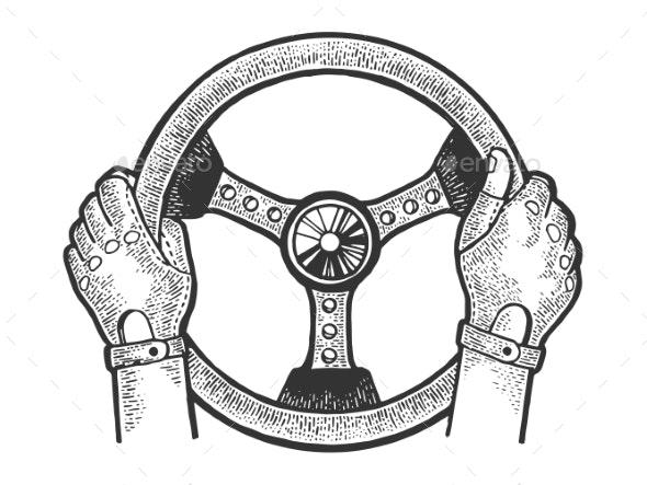 Racer Hands on Steering Wheel Sketch Vector - People Characters