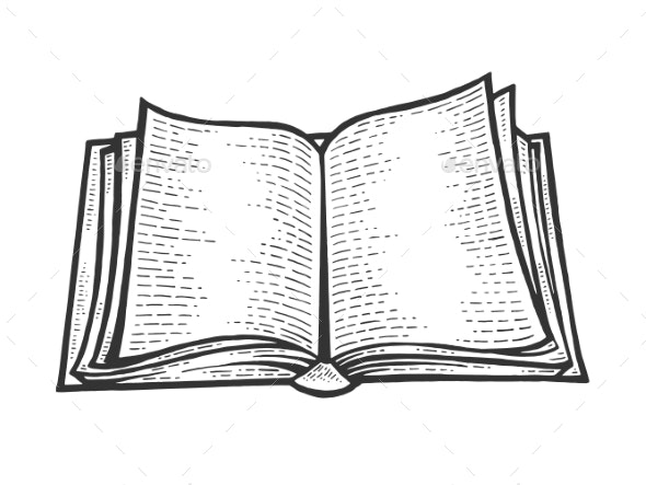 Open Book Sketch Engraving Vector Illustration by