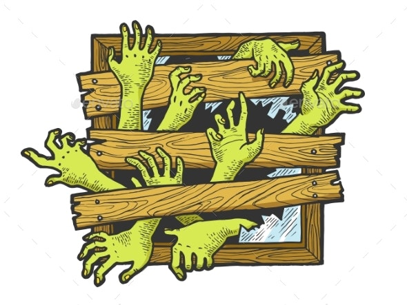 Zombie Hands Window Sketch Engraving Vector - Monsters Characters