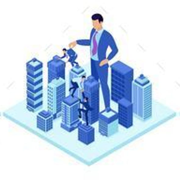 Isometric Concepts of a Big Businessman Running a City
