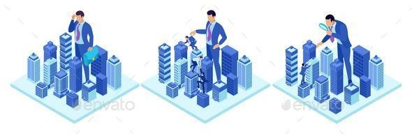 Isometric Concepts of a Big Businessman Running a City - People Characters