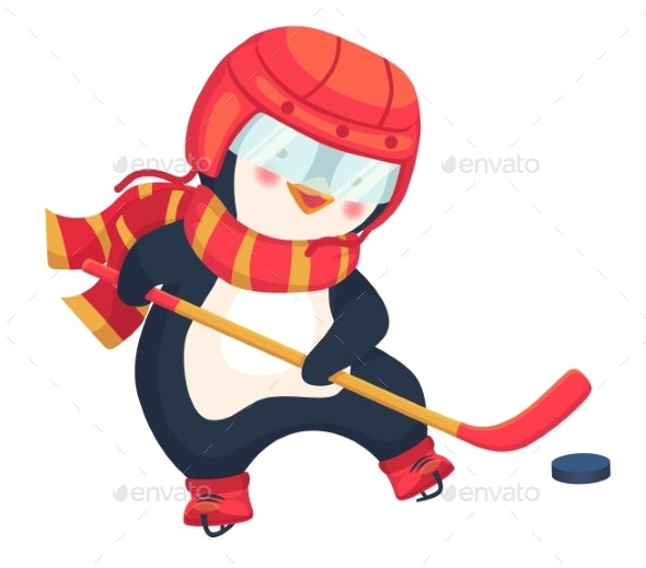 Penguin Play Ice Hockey in the Winter - Sports/Activity Conceptual