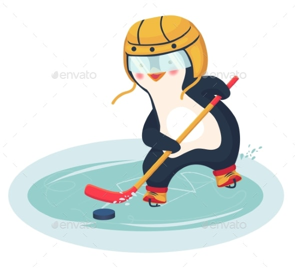 Penguin Plays Ice Hockey in the Winter - Sports/Activity Conceptual
