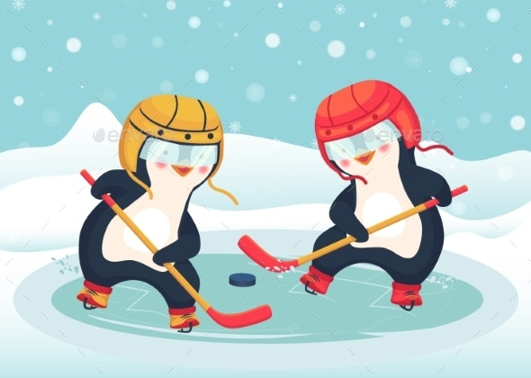 Penguin Play Ice Hockey in the Winter - Animals Characters