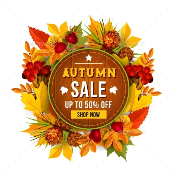 Autumn Sale Discount Vector Poster of Leaf - Seasons Nature