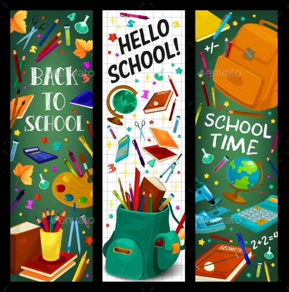 Back to School Vector Stationery Banners Set - Miscellaneous Conceptual