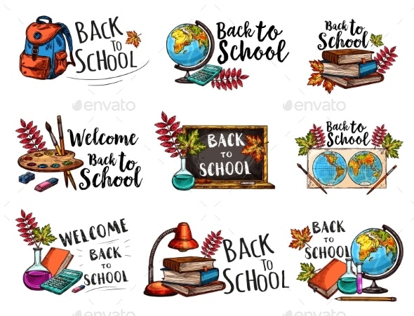 Back to School Isolated Sketch Icons Vector Set - Miscellaneous Conceptual