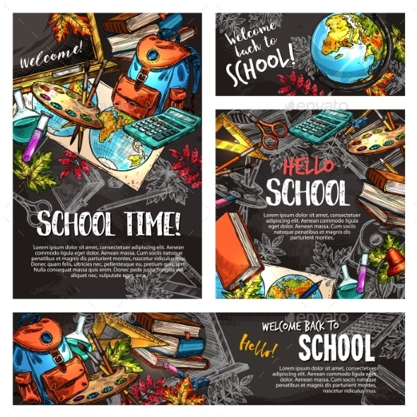 Back to School Chalkboard Banner Template Set - Miscellaneous Conceptual