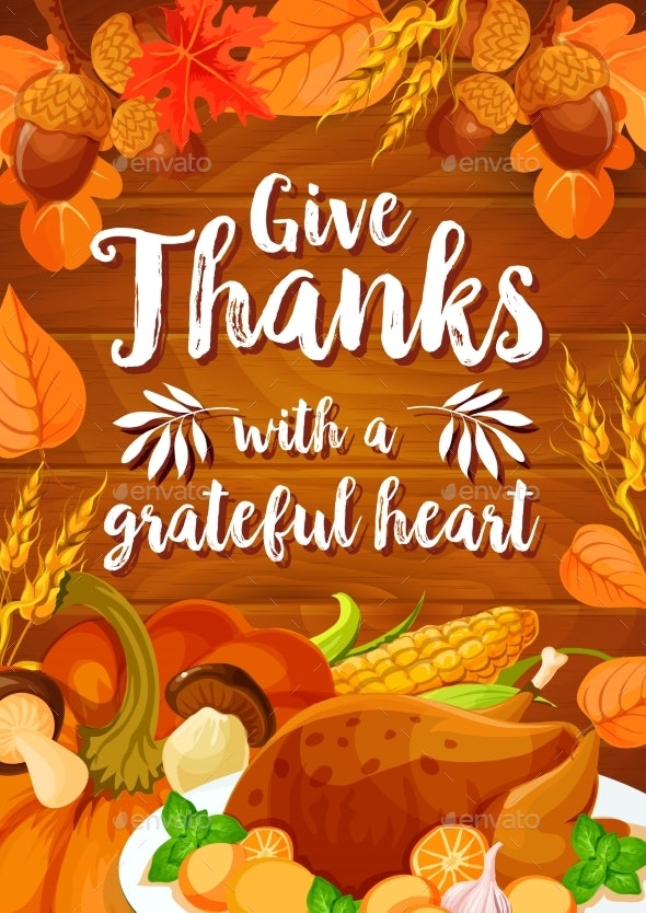 Thanksgiving Day Dinner Banner on Wooden Background - Miscellaneous Seasons/Holidays