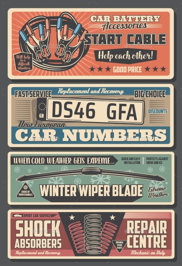 Car Parts Registration Plates and Engine Cables - Industries Business