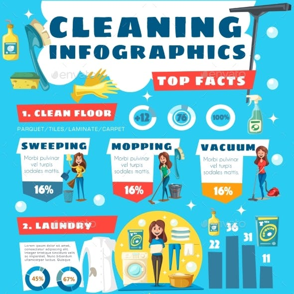 Home Cleaning House Service Infographic Facts