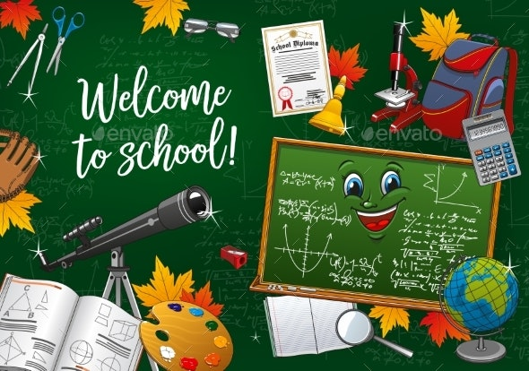 Back to School Supplies Cartoon Chalkboard Smile - Backgrounds Decorative