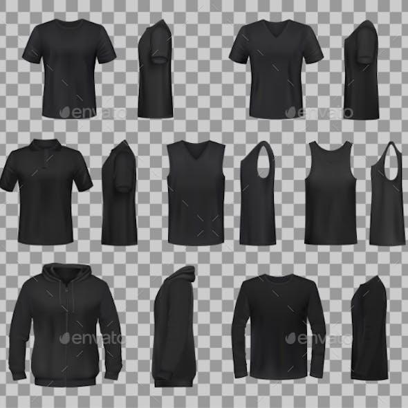 Women Shirts Clothes Black Template Models