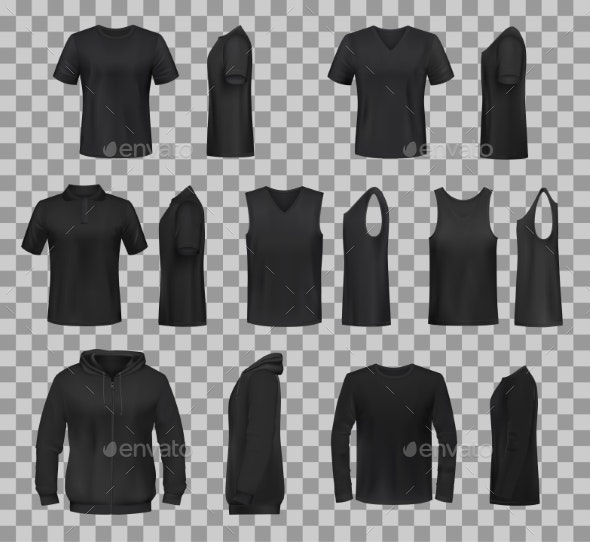 Women Shirts Clothes Black Template Models - Man-made Objects Objects