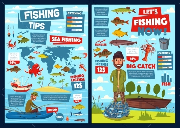 Fishing and Fish Catch Equipment Infographic - Sports/Activity Conceptual