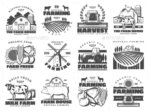 Farm Dairy and Cattle Products Farming Icons - Industries Business