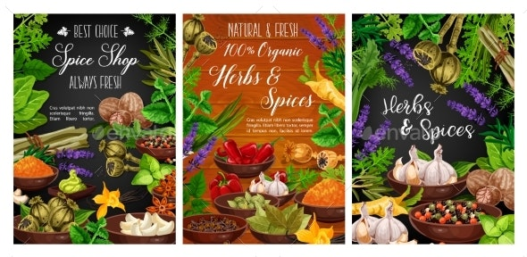 Herbs and Spices Organic Cooking Spice Shop - Food Objects