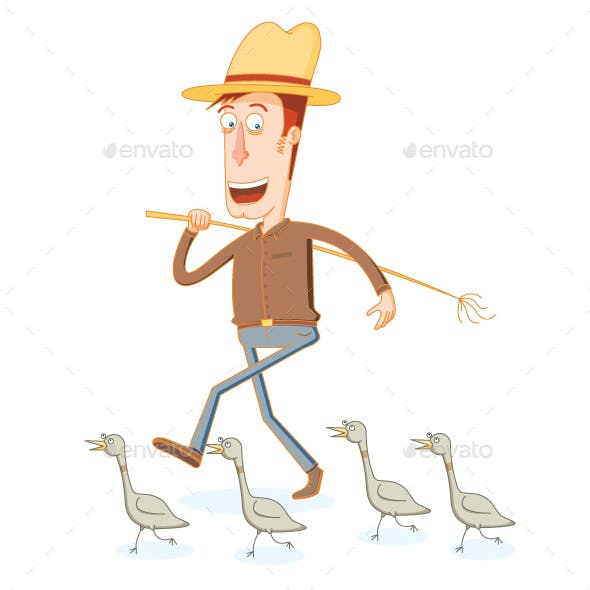 Farmer and his Band of Duck Soldiers