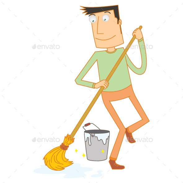Man Mopping Floor Happily - People Characters