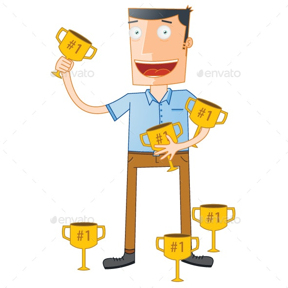 Outstanding Student Hold Trophies - People Characters