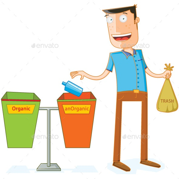 Putting Some Trash in Proper Trash Bin - Man-made Objects Objects