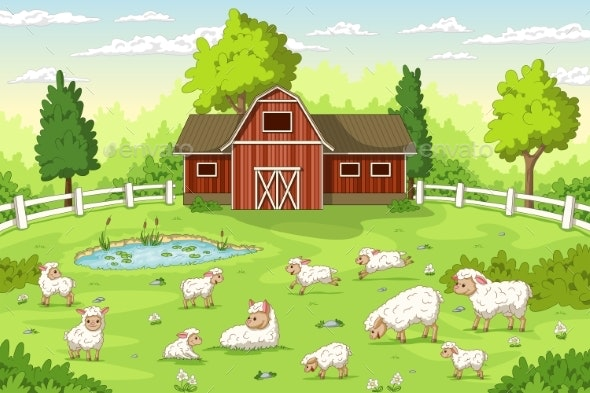 Sheep on a Farm - Animals Characters