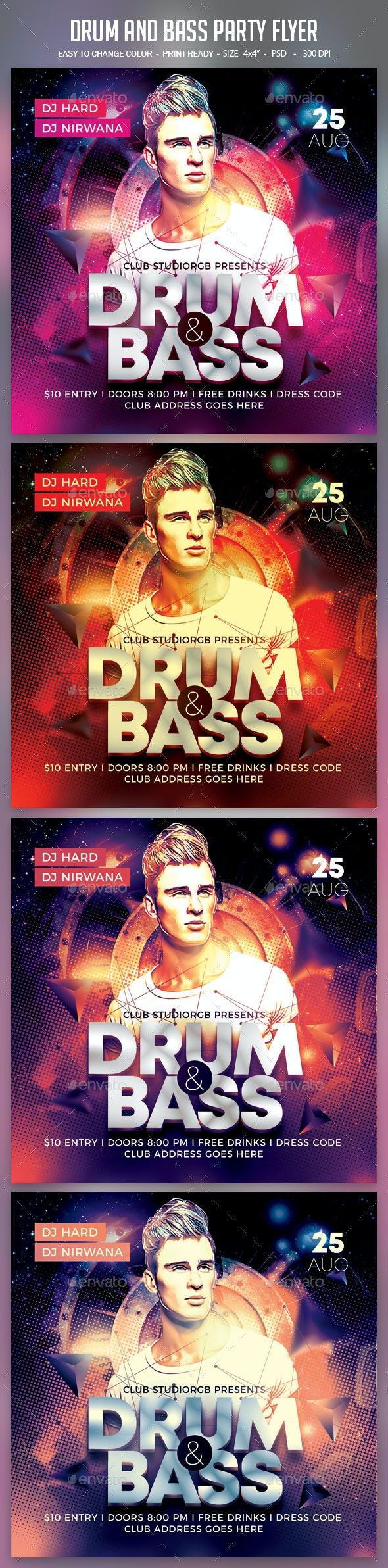 Drum and Bass Party Flyer - Clubs & Parties Events