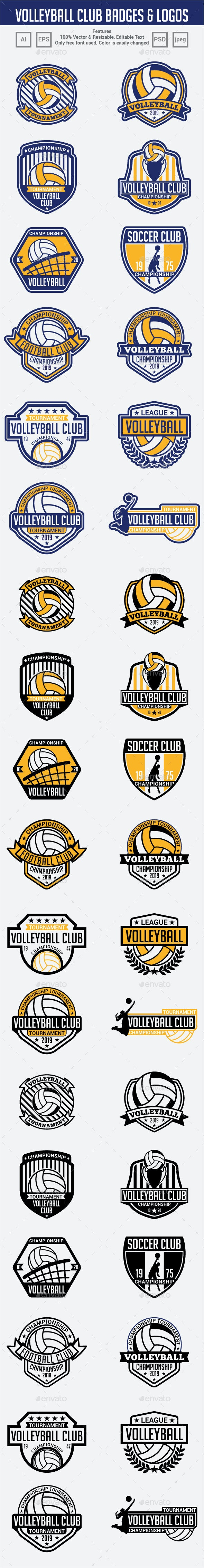 Volleyball Club Badges & Logos - Badges & Stickers Web Elements