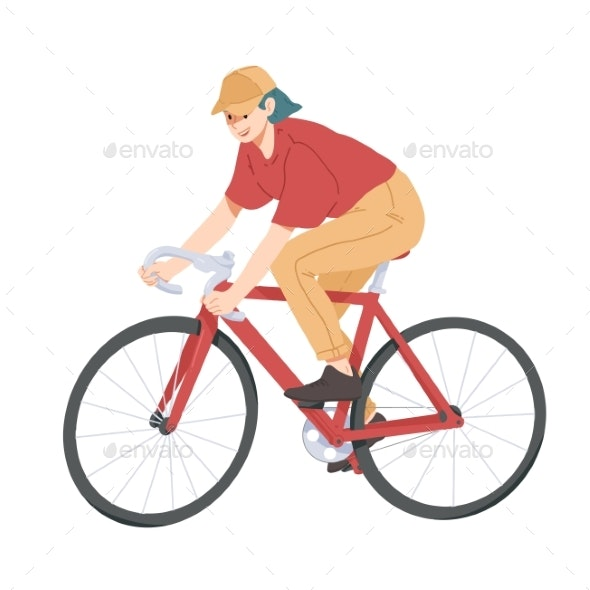 Woman Riding Bicycle - Sports/Activity Conceptual