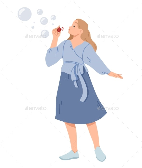 Young Woman Blowing Soap Bubbles Vector - People Characters