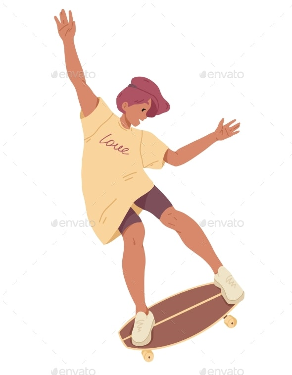 Girl Ride on Skateboard Summer Leisure Activity - Sports/Activity Conceptual