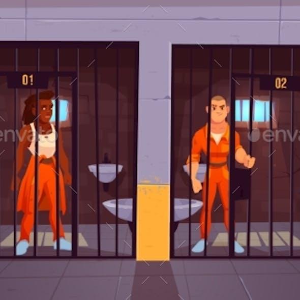 Prisoners in Orange Jumpsuits in Prison Jail